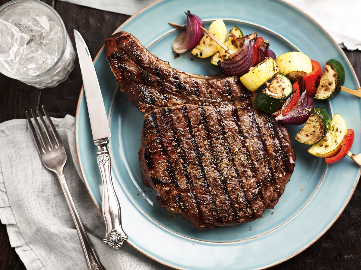 Ribeye steak with vegetable side dish