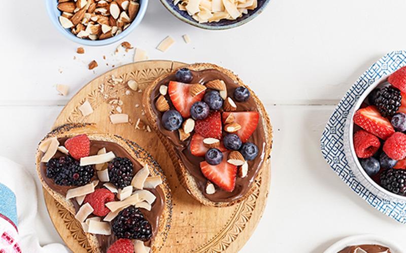 Loaded Hazelnut Toast for Chronic Alarm Snoozers