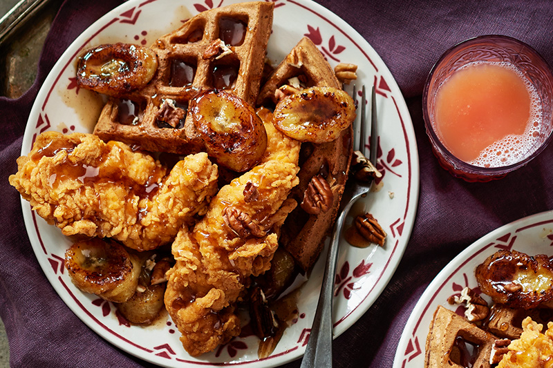 Chicken and Hummingbird Waffles with Banana-Bourbon Syrup