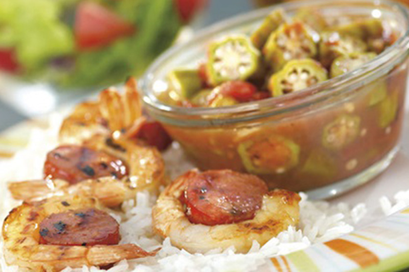 Shrimp and Sausage Skewers with Stewed Tomatoes and Okra